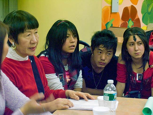 Students listen carefully to Toshiko Tankana, December, 2010