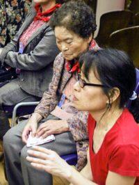 Nagasaki hibakusha with interpreter Miyako Taguchi, May, 2010