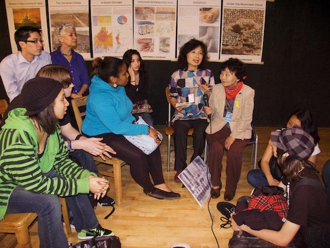 City As School students listening to Sakue Shimohira, May, 2010