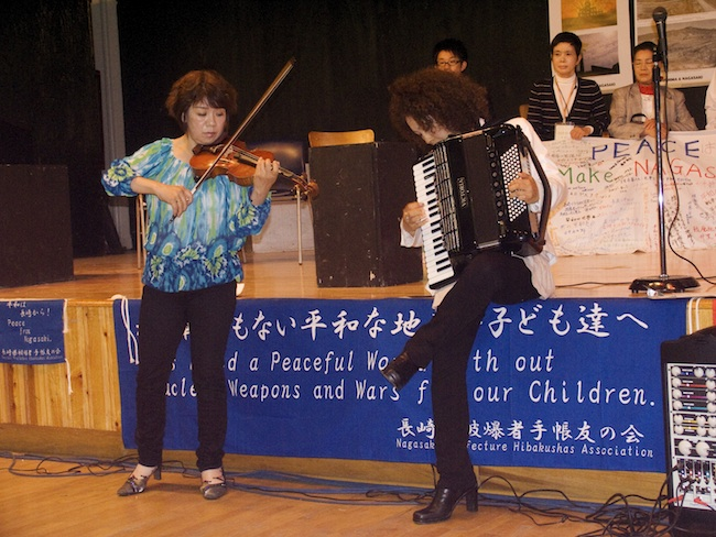 Japanese duo performs at City As School in honor of the hibakusha, May, 2010