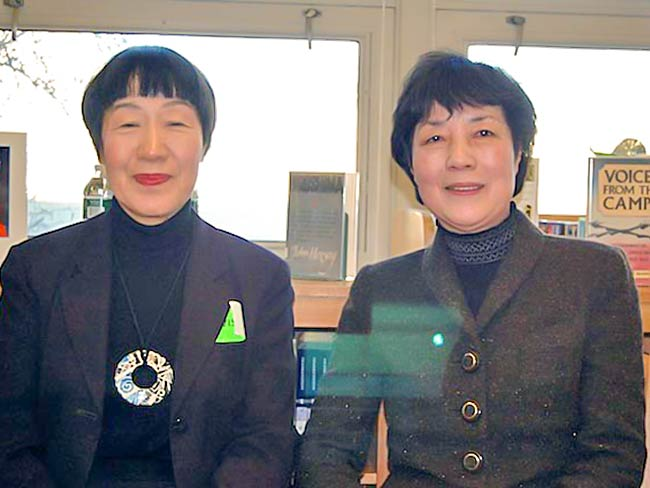 Toshiko Tanaka and Reiko Yamada at John Bowne High School, photo by Bob Doda, December, 2010
