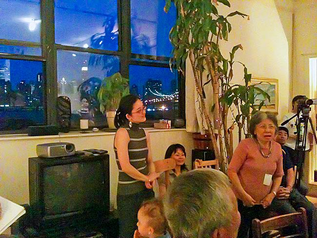 Shigeko Sasamori speaks at a party at the Long Island City home of Marc Tchelistcheff, May, 2010