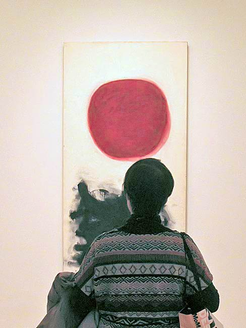 Toshiko Tanaka viewing a painting from the Abstract Expressionist exhibit at MoMA, December, 2010