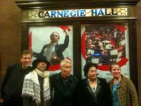 (l to r) Blaise Dupuy, Hayato Nakao, Yasuaki Yamashita, Setsuko Thurlow and Kathleen Sullivan, Carnegie Hall, The World Peace Orchestra celebrates the life of Sir George Solti