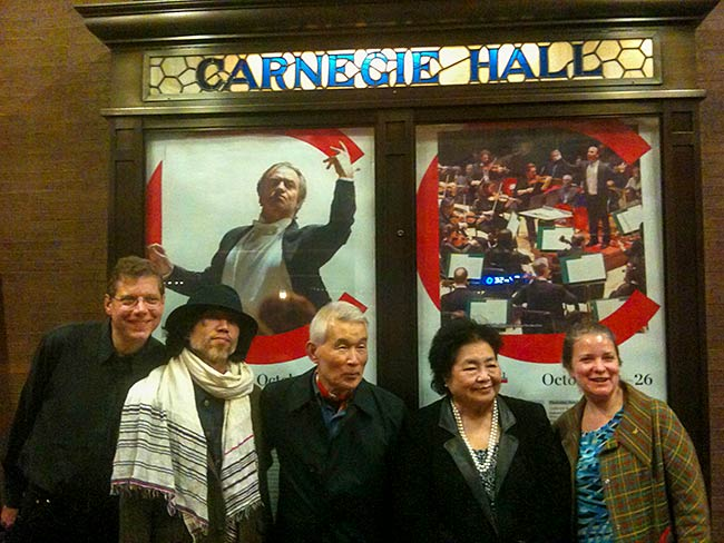 (l to r) Blaise Dupuy, Hayato Nakao, Yasuaki Yamashita, Setsuko Thurlow and Kathleen Sullivan, Carnegie Hall, The World Peace Orchestra celebrates the life of Sir George Solti