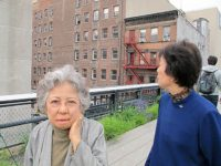 Shigeko Sasamori and Reiko Yamada in front of the Williams and Baker Warehouse, the Highline