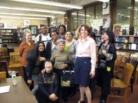 Jamaica High School librarian Ellen Frank with students and hibakusha, May, 2011