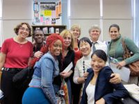 Jamaica High School librarian Ellen Frank and Teacher Lisa Stapleton with Toshiko Tanaka, Cynthia Miller and Robert Croonquist, photo Rieko Gibbs, May, 2012