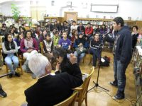 A student from W.C. Bryant speaks about his experience after listening to Hirosi Iso, May 2010