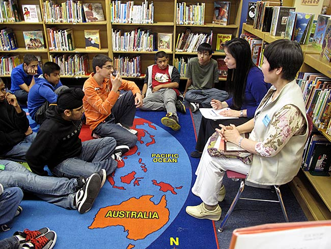 "Palestinian student at Paul Klapper Middle School asks Toshiko Tanaka, ""How can you let go of hatred?"" May, 2010"