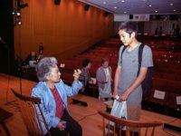 Student has a private moment with Shigeko Sasamori
