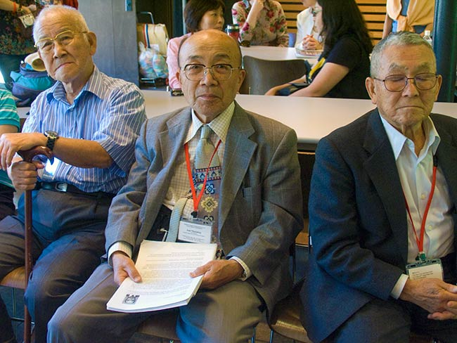 Hibakusha await the presentation of their testimonies, May, 2010