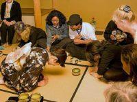 Students, teachers and hibakusha alike share in the ceremony