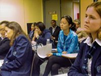 United Nations interns and guides listen to hibakusha testimony, May, 2011