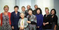 (l to r) Cynthia Miller, Angela Kane, Shigeko Sasamori, Robert Croonquist, Randy Rydell, Toshiko Tanaka, Joan Tudor, Reiko Yamada, Kathleen Sullivan, Rachel Clark