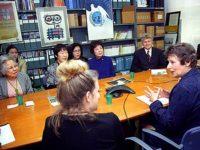 Hibakusha Stories team meets with Angela Kane (speaking, in blue)