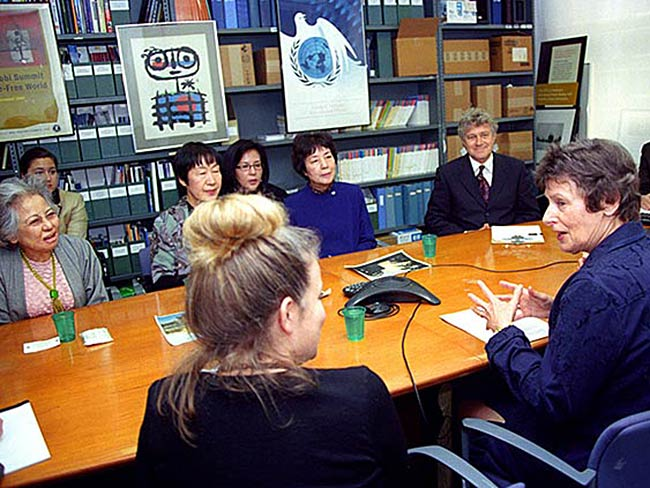 Hibakusha Stories team meets with Angela Kane (speaking, in blue)