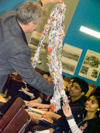 Each year the Hiroshima Peace Culture Foundation donates 1,000 paper cranes to give to each school, December, 2010