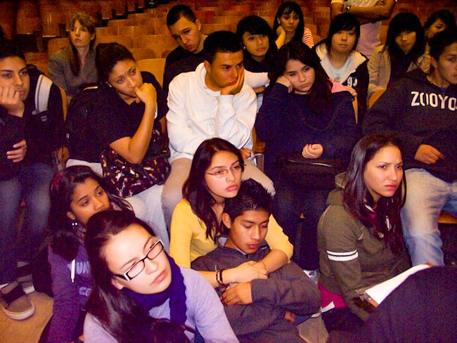 Students listen attentively to hibakusha testimony, December, 2010