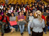 Teacher Erin Dowding addresses her students, December, 2010