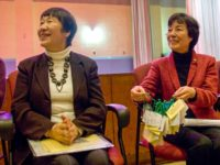 The hibakusha are often on the receiving end as they accept hand-crafted gifts, December, 2010