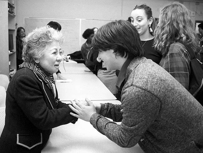 Shigeko Sasamori receives words of gratitude, May, 2013