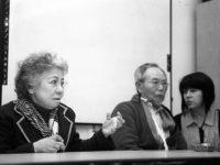 Shigeko Sasamori gives her testimony as Marie Cochrane interprets for Jong-keun Lee, May, 2013