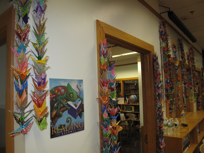 Students at Jane Addams High School created 1,000 paper cranes for the occasion