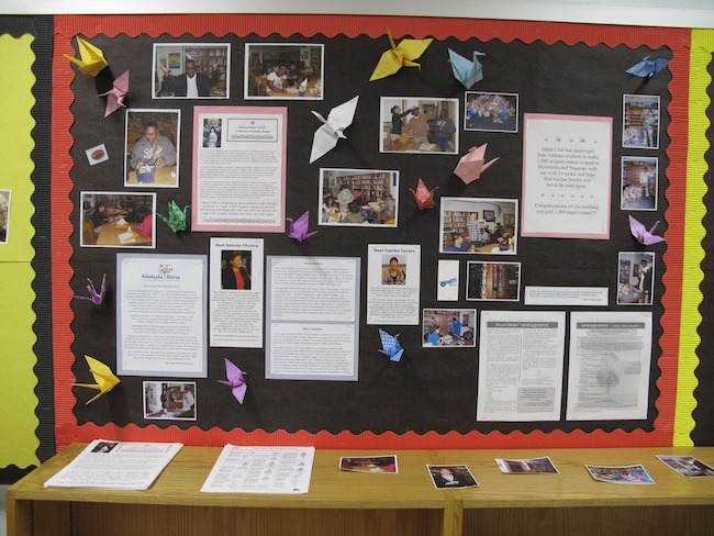 Jane Addams High School Librarian Tina Chrismore created a bulletin board to honor the hibakusha