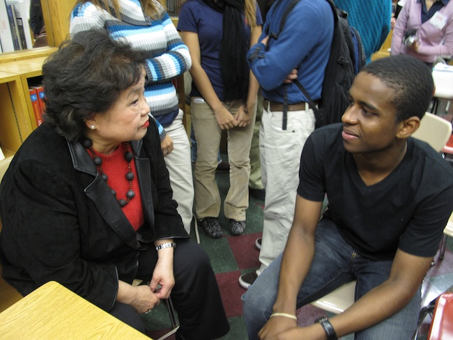Setsuko Thurlow with a student at Jane Addams