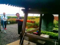 Reiko Yamada rings the peace bell in the United Nations garden, May 2013