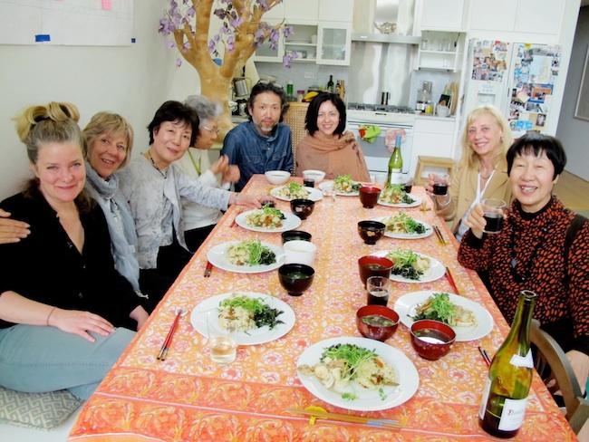 A delicious meal prepared by Hayato Nakao. (l to r) Kathleen Sullivan, Cynthia Miller, Reiko Yamada, Shigeko Sasamori, Hayato Nakao, Marie Cochrane, Carolina Soto, Toshiko Tanaka, May, 2012