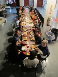 A working lunch at Theater for the New City, May, 2012