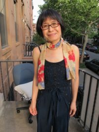 Graphic designer Miyako Taguchi arrives at Dupuy's Landing, May, 2012