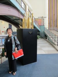 Toshiko Tanaka in the lobby of the United Nations Headquarters, May, 2012