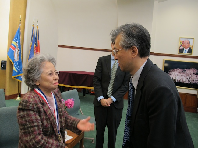 Shigeko Sasamori and Hiro Sakurai at an event at Soka Gakkai, International, May, 2012