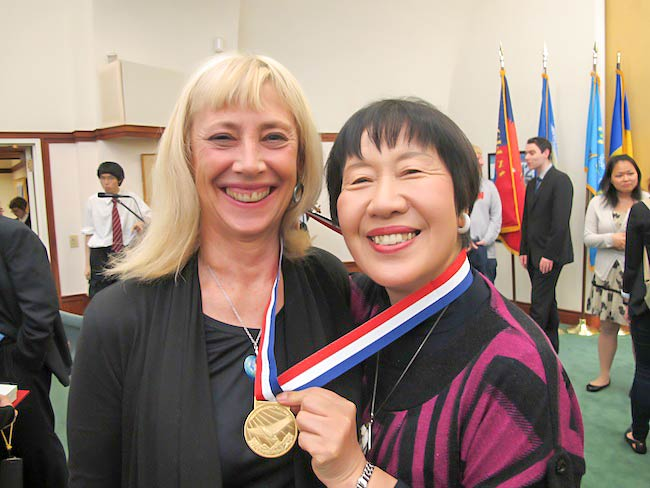 Carolina Soto with Toshiko Tanaka after Ms. Tanaka received an award for her work for nuclear disarmament from Soka Gakkai International, May, 2012