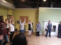 Toshiko Tanaka participates in theater exercises at New York Theatre Workshop, May, 2010
