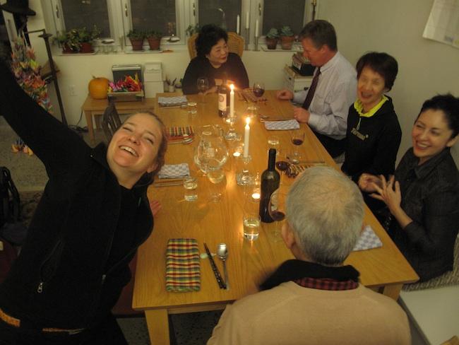 Katheen Sullivan celebrates after a day of hard work. Otsukaresama deshita! December, 2011