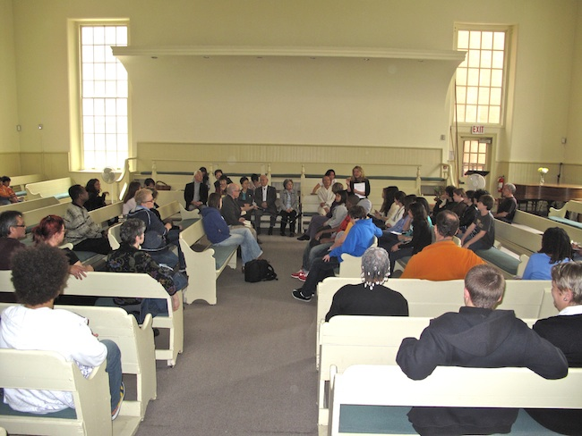 The hibakusha were guests at the Brooklyn Friends Meeting House, May 2010