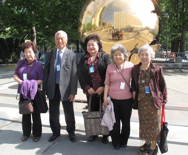 Michiko Tsukamoto, Kunihiko Bonkohara, Setsuko Thurlow, Shigeko Sasamori and Keiko Murakami at The Sphere Within Sphere, UN Headquarters, May, 2010