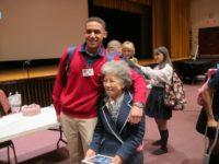 Shigeko Sasamori with student, Cardinal Spellman High School, April, 2013