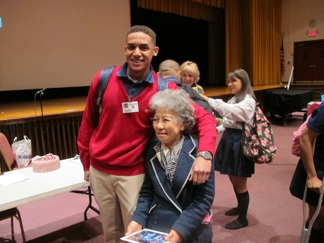 Shigeko Sasamori with student, Cardinal Spellman High School, April, 2013