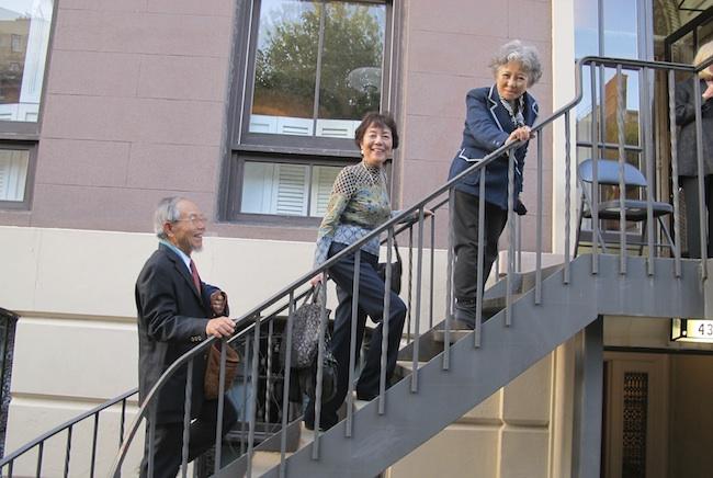 Jong-keun Lee, Reiko Yamada and Shigeko Sasamori arrive at Dupuy's Landing, May, 2013