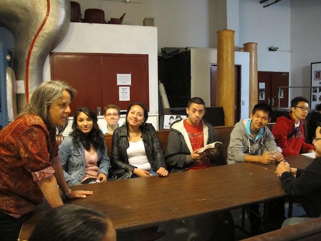 Debbie Brindis welcomes students, May, 2013