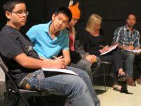 Carolina Soto and teacher Adam Holub with students at TNC, May, 2013