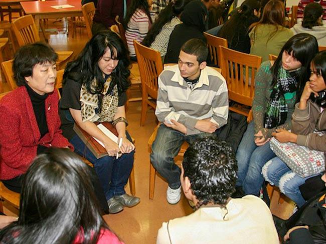 Reiko Yamada shares her testimony with students, December, 2010