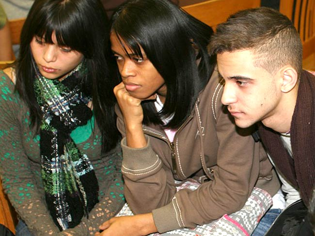 Students listen to the testimony of Reiko Yamada, December, 2010