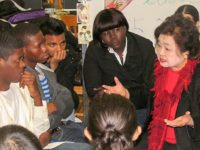 Setsuko Thurlow worked as a social worker in the Toronto Public Schools for twenty years and knows how to directly relate to students, December, 2010
