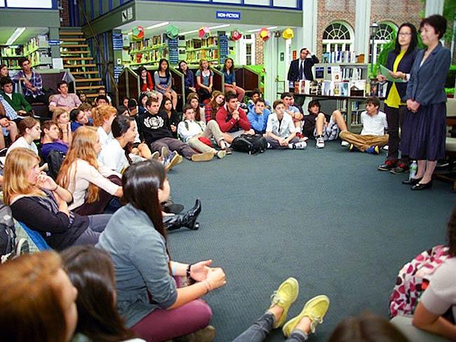 Reiko Yamada addresses the students at Poly Prep, May, 2013